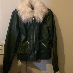 Hunter green Vegan Leather jacket